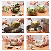 Clean artichokes, cook and remove chokes