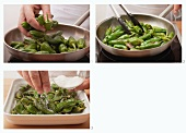 Fry Pimientos de Padron and scatter with salt