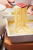 Spaghetti auf einem Backblech mit Olivenöl verteilen