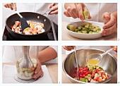 Preparing avocado salad with prawns