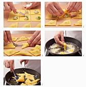 Preparing potato and pea samosas