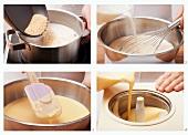 Preparing vanilla and sesame ice cream with ginger