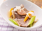 Tafelspitz (German boiled sirloin) with horseradish, beef bone marrow and vegetable broth