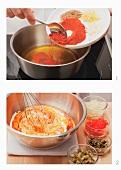Preparing Liptauer (spicy cheese spread)