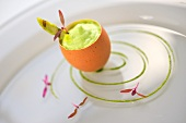 Smoked salmon tartare with poached egg and asparagus froth