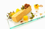 Pate de Foie Gras with passion fruit jelly, gingerbread puree and mango