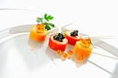 Prawn lollies with caviar
