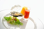 Raw oyster with mango-chilli and tomato-liquorice shooters