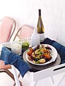 Roast vegetables with horseradish cream and rocket pesto