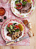 Roast lamb with feta and mixed leaf salad