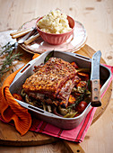 Roast pork with fennel and mashed potatoes