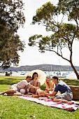 Junge Leute machen Picknick auf Wiese am See