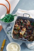 Beef bourguignon in the tin with green beans