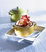 Bacon and potato soufflé in cocotte dishes