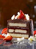 Strawberry and chocolate dessert with sponge cake