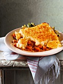 Cottage pie (ground beef casserole with a potato crust, England)