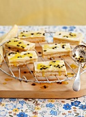 Passion fruit cake fresh from the baking tray