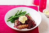 Beef steak with sauteed red -beets and Dijon mustard dip