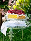 Raspberry cream sponge cake