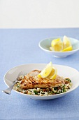 Swordfish on raisin and almond rice