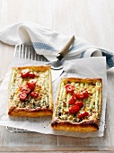 Asparagus tarts with cheese and tomato