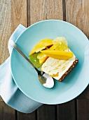 Frozen mango and macadamia terrine