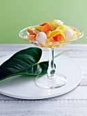 Exotic fruit salad with lime syrup