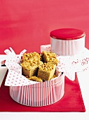 Coffee-walnut streusel cake in a cake tine