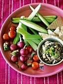 Crudite with bean dip and chapatis