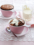 Chocolate souffle with cream