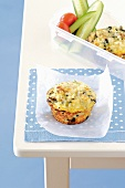 Spinach muffins with cheese for school lunch