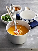 Pumpkin soup with crab