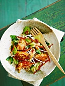 Pak choi salad with rainbow trout, peanuts, bean sprouts and sesame seeds