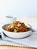 Stir-fried pork with vegetables and noodles