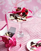 Marbled chocolate hearts and chocolate flowers