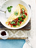 Omelette with glass noodles and vegetables