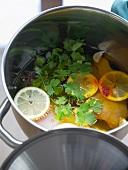 Chicken terrine ingredients in pan