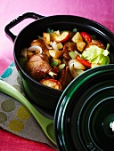 Chicken stew with cider and potatoes