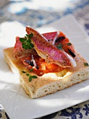 Fougasse with red mullet and tomato