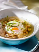 Broth with egg, chicken and crabmeat