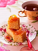 Moist orange cake and tea