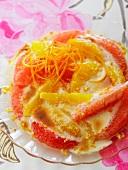 Citrus gratin with orange flower froth