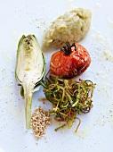 Artichokes, vegetable puree, roast tomato and vegetable threads