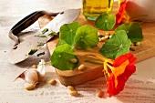 Ingredients for nasturtium pesto