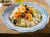 Risoto with prawns and giant capers
