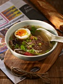 Pot au feu with beef and egg (Cambodia)