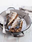 Fried mackerel stuffed with mushrooms