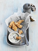 Cornmeal-crusted oysters with dip