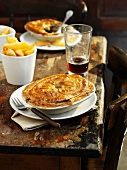 Pub steak pie and chips