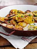 Saffron fried potatoes with onions